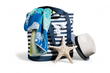 beach bag with a straw hat sun