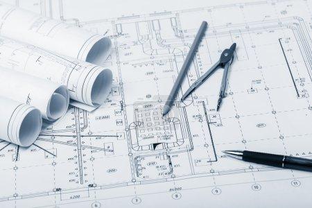 Photo pour La partie du projet architectural sur fond - image libre de droit