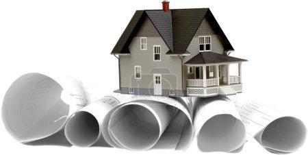 Photo pour Modèle de maison classique sur backgrouund - image libre de droit