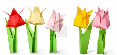 Photo for Origami flowers on white background - Royalty Free Image