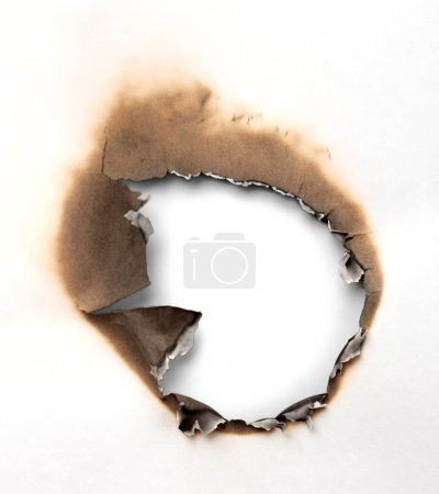burned paper isolated