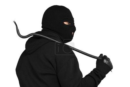Thief in black balaclava