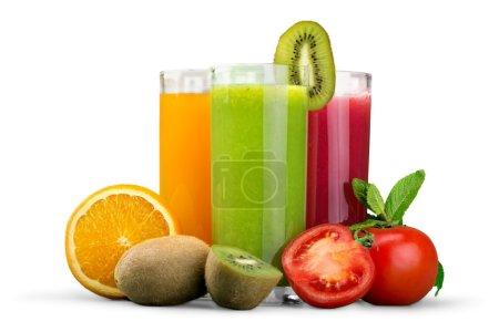 Photo pour Fruits savoureux et jus avec des vitamines sur le fond - image libre de droit