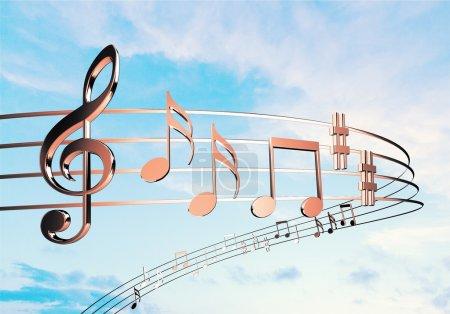 Photo pour Notes de musique isolées sur fond - image libre de droit