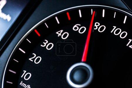 Modern car speedometer.