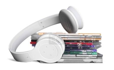 headphones and  compact discs