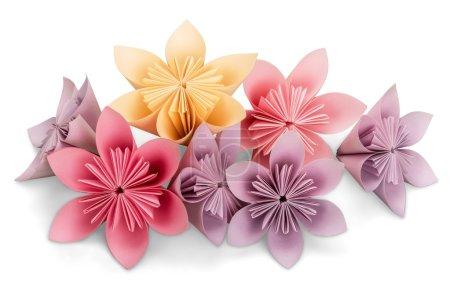 Foto de Flores de origami en fondo blanco - Imagen libre de derechos