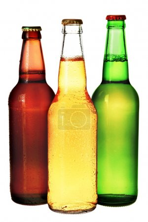 three bottles of beer isolated