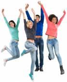 jumping cheerful teens