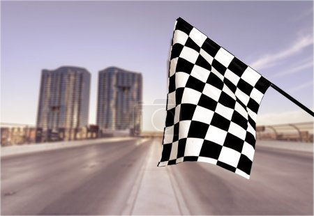 Photo for Checkered flag isolated on background. Concept photo of winner - Royalty Free Image