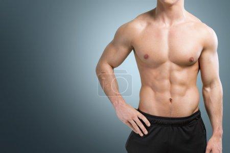 Muscular body of sportsman
