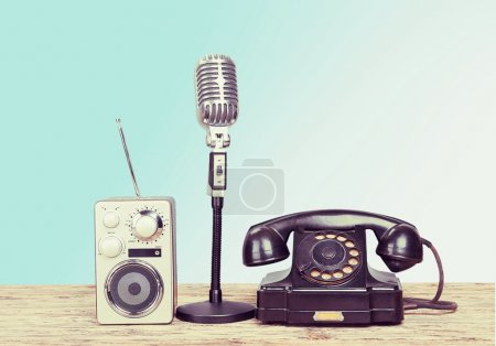 Little speaker and vintage microphone