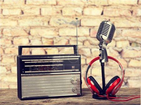 Retro style microphone and headphones
