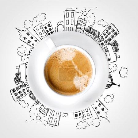Foto de Imagen conceptual de la taza de café y el concepto de ciudad moderna - Imagen libre de derechos