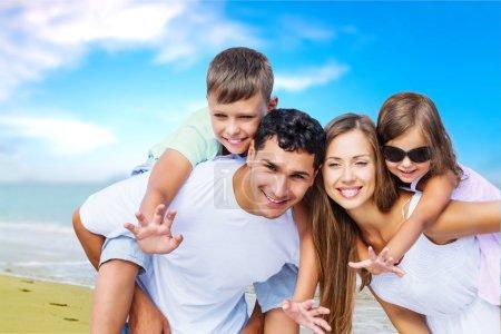 Lovely family at beach