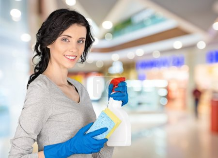 woman holding cleaner and cloth