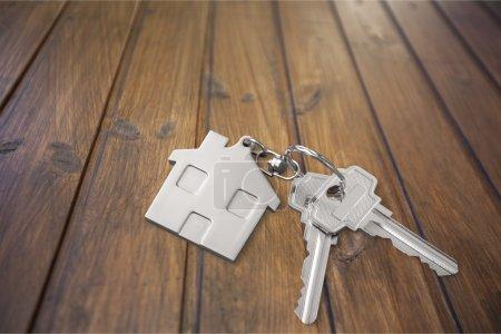 Photo pour Clés de maison avec chiffre de la maison sur fond - image libre de droit