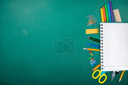 Photo for Assortment  of School supplies on  background - Royalty Free Image