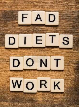 Fad. Fad Diets Dont Work card isolated on white background
