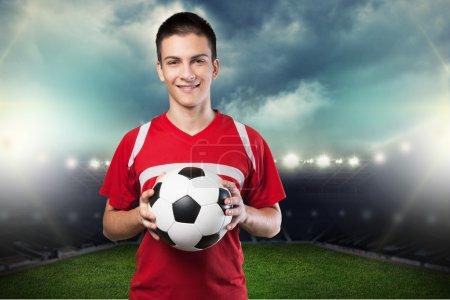 Soccer, player, ball.