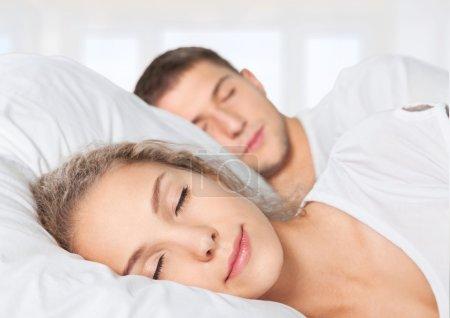 Sleeping, Couple, Bed.