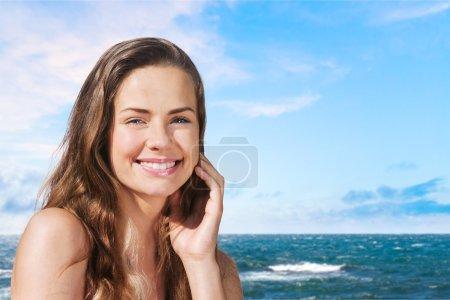 Beach, smile, face.