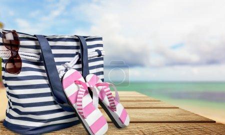 Sand, beach, bag.