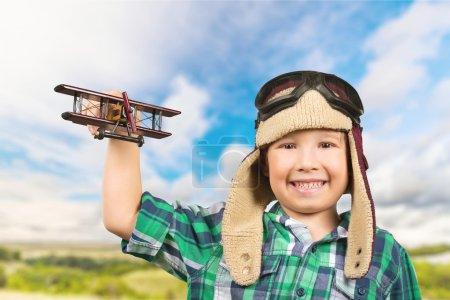 Plane, pilot, toy.