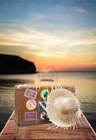 Étiquette de voyage, valise,