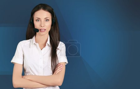 Customer Service Representative, Headset, On The Phone.