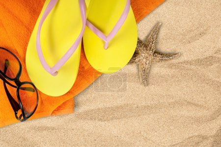 Photo for Beach, Sand, Flip-flop. - Royalty Free Image