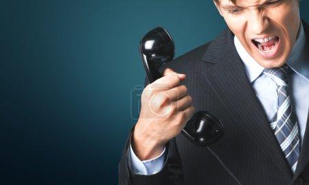 Photo pour Téléphone, colère, mécontentement . - image libre de droit