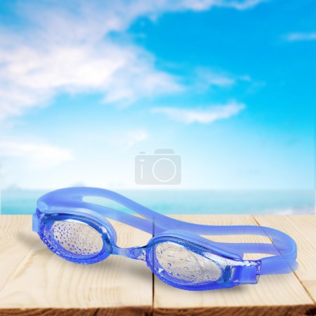 Swimming Goggles, Blue, Isolated.