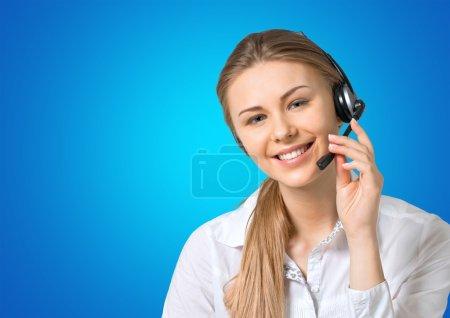 Photo pour Connexion, téléphone, représentant du service à la clientèle . - image libre de droit
