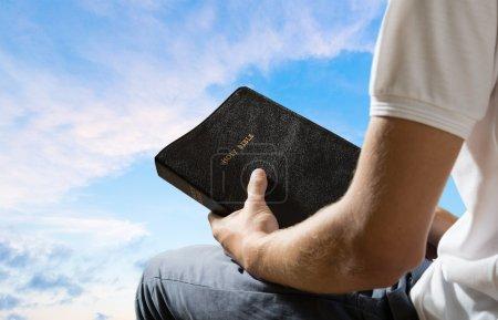 Photo for Bible, Praying, Men. - Royalty Free Image