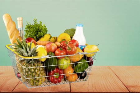 Photo for Groceries, Basket, Shopping Basket. - Royalty Free Image