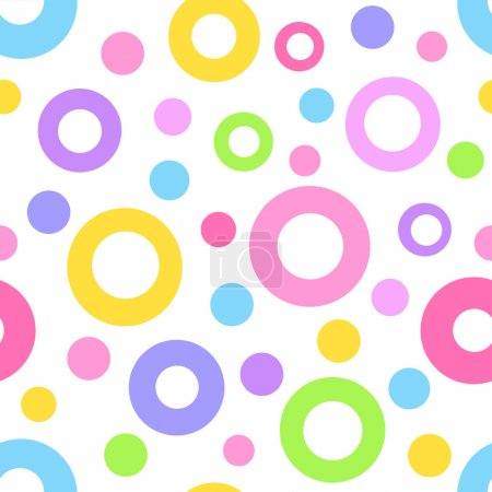 Illustration for Seamless geometric pattern with big and small multicolored circle. Vector illustration. - Royalty Free Image