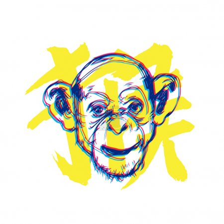 Monkey new year illustration with character means Monkey