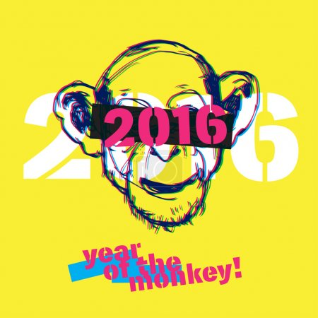 Monkey new year illustration