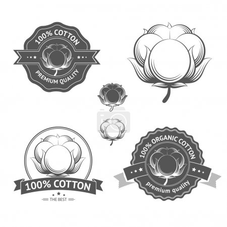 Illustration for Cotton icons set. Cotton labels, stickers and emblems. Certified of 100 percent cotton isolated, ideal for cotton products such a clothes and materials - Royalty Free Image