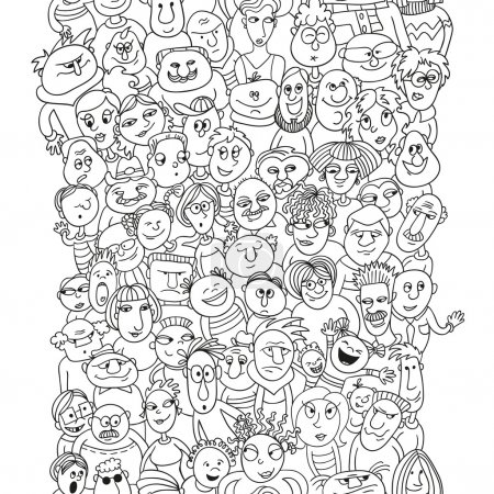 Crowd of funny people faces