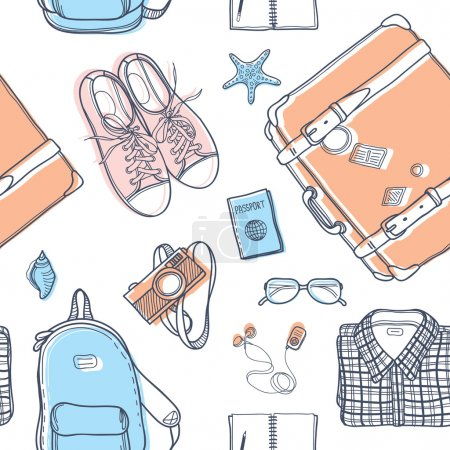 Illustration for Vector seamless pattern with suitcase, backpack, notebook, glasses, sneakers, player, camera, passport, clothes and sea shells. Unique background for digital scrapbooking, fabric, travel background. - Royalty Free Image