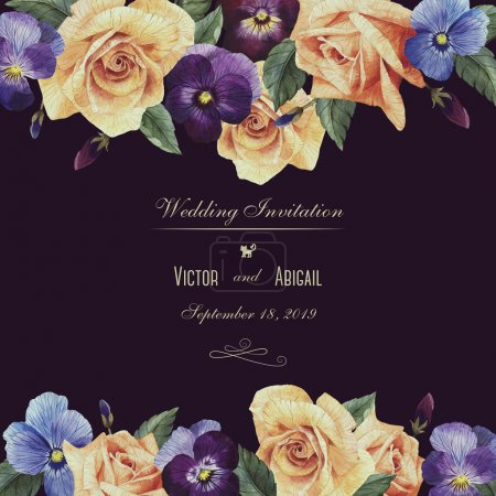 Greeting card with roses and pansy