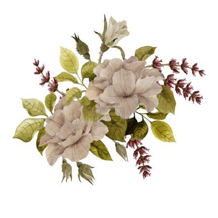 Photo pour Bouquet de roses et de lavande, aquarelle, peut être utilisé comme carte de vœux, carte d'invitation pour mariage, anniversaire et autres vacances et fond d'été - image libre de droit