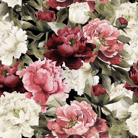 Photo for Seamless floral pattern with peonies, watercolor background - Royalty Free Image