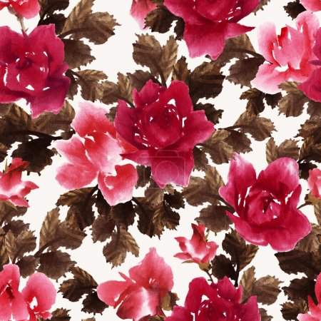 Photo for Watercolor Seamless floral pattern with roses - Royalty Free Image