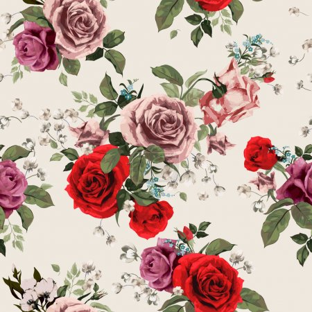 Photo for Seamless floral pattern with roses - Royalty Free Image