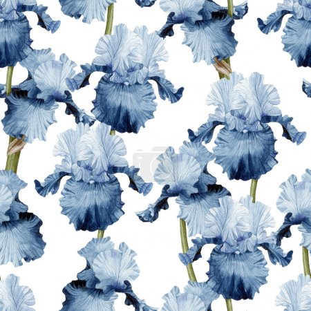 Pattern with watercolor iris flowers