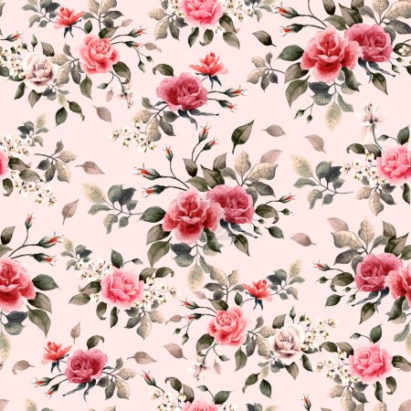 Red and pink roses pattern