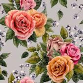 """Постер, картина, фотообои """"Цветочный узор с розами"""""""